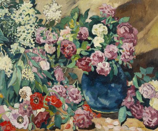 Louis VALTAT - Peinture - Fleurs au vase bleu