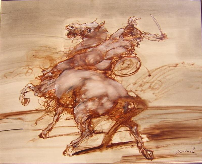 Claude WEISBUCH - Painting - Cavalier casqué