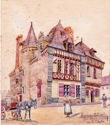 Francisque RABERAIN - Dibujo Acuarela - HENNEBOUT  MORBIHAN RUE DE L EGLISE