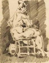 Aloys WACH - Drawing-Watercolor - Auf einem Stuhl sitzender weiblicher Akt