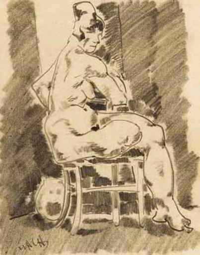 Aloys WACH - 水彩作品 - Auf einem Stuhl sitzender weiblicher Akt