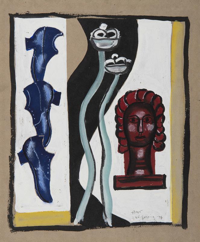 Fernand LÉGER - Drawing-Watercolor - Composition à la tête rouge