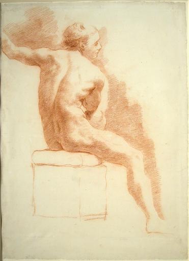 Gaetano GANDOLFI - Disegno Acquarello - Seated Male Nude