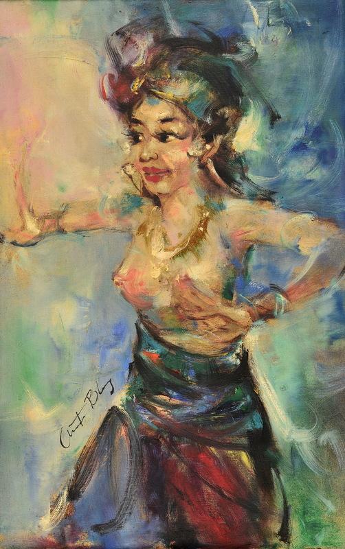 Antonio BLANCO - Pintura - A BALINESE NUDE DANCER