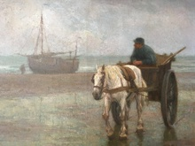 Edgard FARASYN - Pintura - Pescador a carreta en la costa.