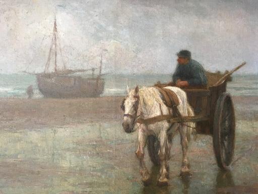 Edgard FARASYN - Painting - Pescador a carreta en la costa.