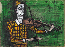 Bernard BUFFET - Drawing-Watercolor - Clown au violon