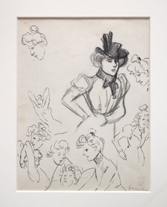 Théophile Alexandre STEINLEN - Disegno Acquarello - Frauenstudien