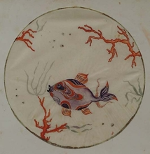 "Ena ROTTENBERG - Drawing-Watercolor - ""Fish"" by Ena Rottenberg, Vienna Workshop, ca 1925"
