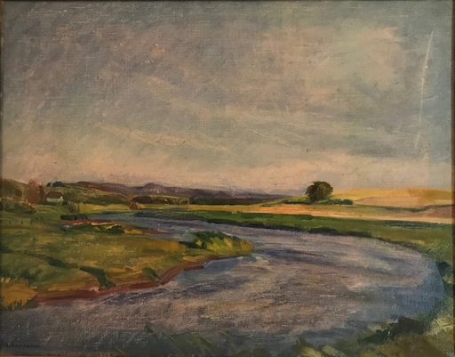 Gustav KAMPMANN - Painting - Weite Landschaft