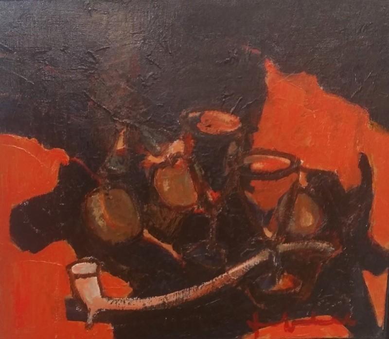 Jef FRIBOULET - Pittura - Nature Morte à la Pipe et Verres
