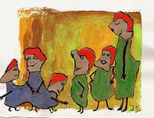 Jacotte SIBRE - Drawing-Watercolor - Les commères 1