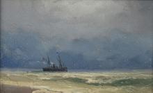 Ivan Constantinovich AIVAZOVSKY - Painting - Ship on the Black Sea