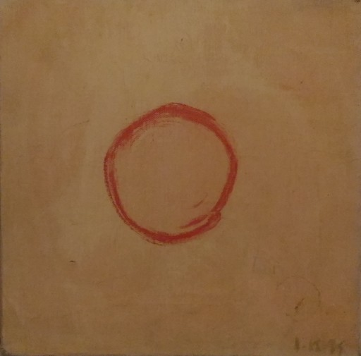 Iva KUPKOVA - Gemälde - ROND ROUGE SUR FOND JAUNE