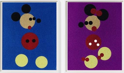 达米恩•赫斯特 - 版画 - Minnie (Pink Glitter) & Mickey (Blue Glitter) Large