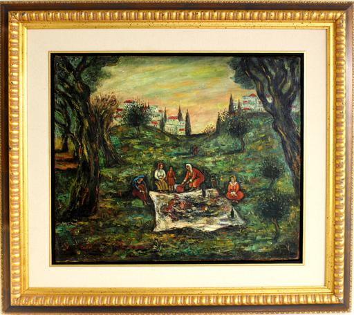 Moshé Elazar CASTEL - Painting - Figures in the landscape