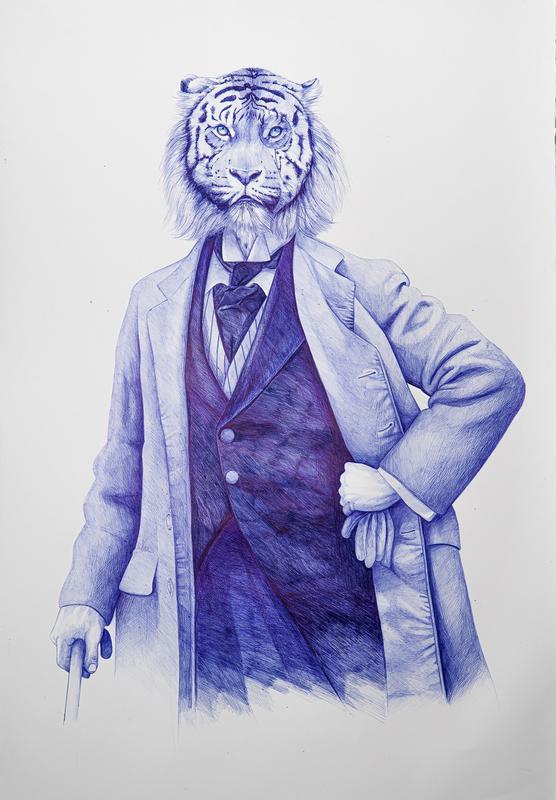 Youssef BOUBEKEUR - Zeichnung Aquarell - Mr W. Clifford