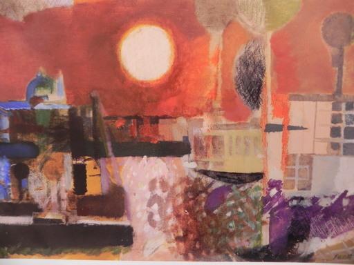 Bruno SAETTI - Pintura - paesaggio con sole