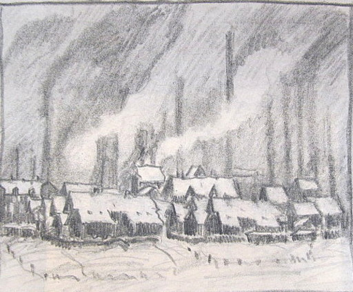 Friedrich EINHOFF - Drawing-Watercolor - #20020: Häuser vor Industrielandschaft
