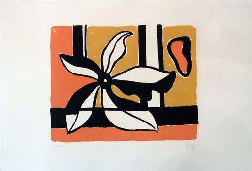 Fernand LÉGER - Print-Multiple - Fleur sur fond orange et jaune