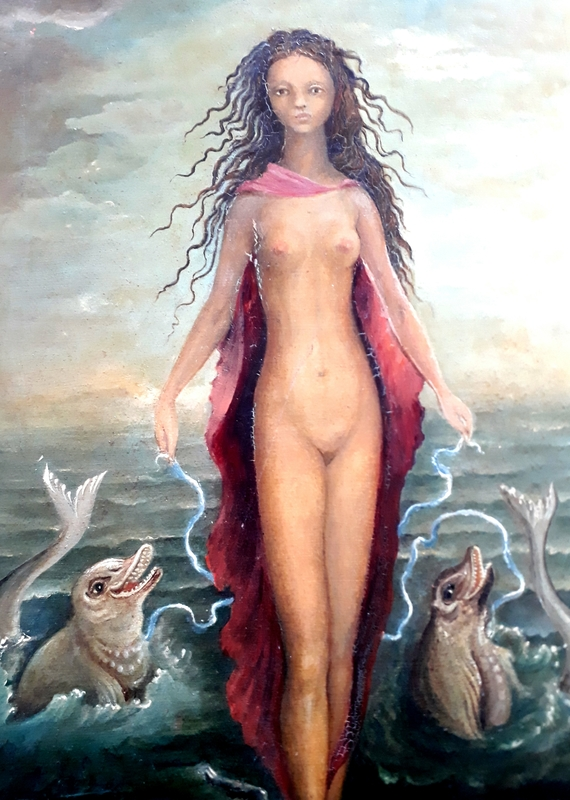 Eva KEPES - Peinture - Nude with Dolphins