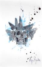 Philippe PASQUA - Peinture - Crâne aux papillons