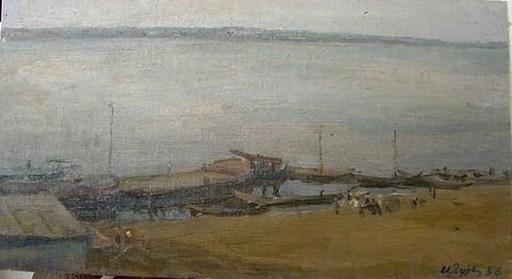Iosif Michajlovic GURVIC - Pittura - Volga by Landing State