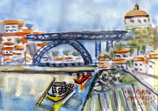 Jean-Pierre CHEVASSUS-AGNES - Dessin-Aquarelle - le pont LUIS à PORTO depuis les caves à vin