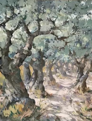 Edmond Amédée MELOT - Pintura - Paire de Champs d'oliviers