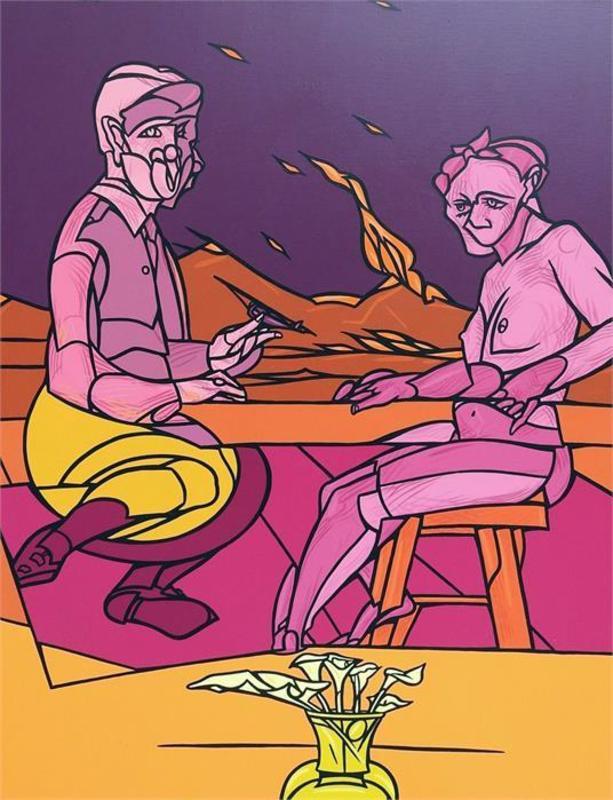 Valerio ADAMI - Painting - Guardo la montagna che brucia