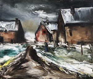 Maurice DE VLAMINCK - Pittura - Hameau sous la neige