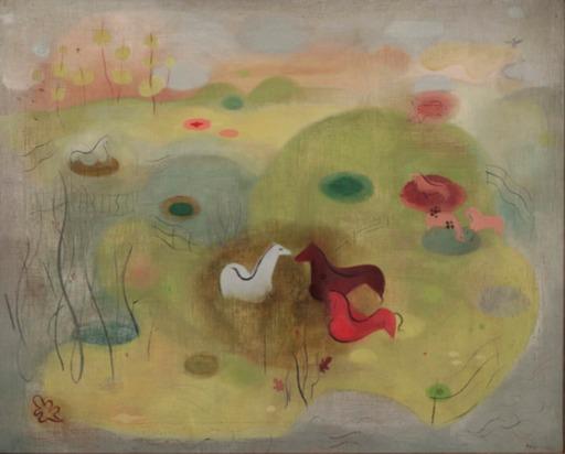 Paule VEZELAY - Painting - Landscape with Three Horses