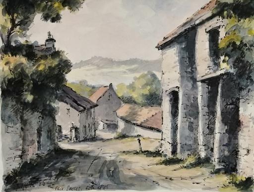 Edmond Amédée MELOT - Dibujo Acuarela - Vaux Saules - Cote d'or