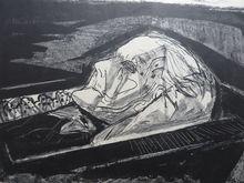 奥托·迪克斯 - 版画 - Meine mutter auf dem Totebett (I)