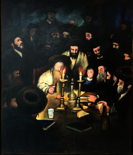 Zvi MALNOVITZER - Painting - Tish with the Rabbi of Lelov