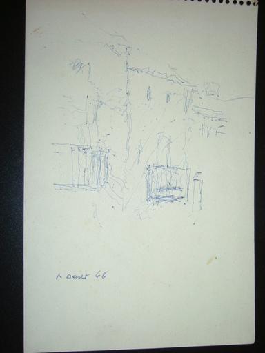 Rafael BENET - Dibujo Acuarela - apunte de paisaje