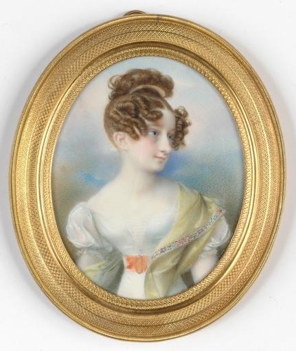 """Karl Josef Aloys AGRICOLA - Zeichnung Aquarell - """"Portrait of an Austrian Lady"""",  ca 1820"""