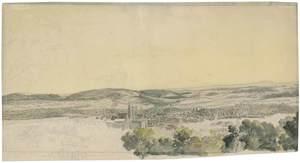 Wilhelm VON KOBELL - Disegno Acquarello - Blick auf Coburg von Nordosten.