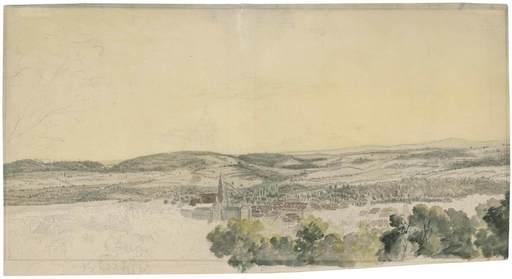 Wilhelm VON KOBELL - Drawing-Watercolor - Blick auf Coburg von Nordosten.