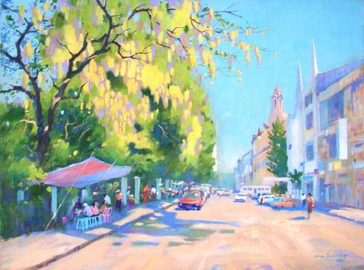 MYA THAUNG - Drawing-Watercolor - Yangon Barlan road