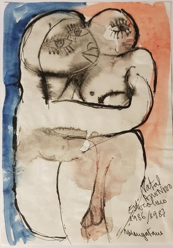 MALANGATANA - Zeichnung Aquarell - Maria e Menino Jesus