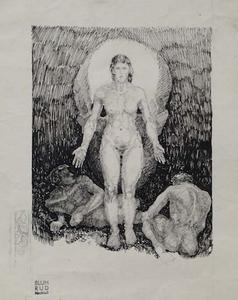 "Rudolf BLUM - Zeichnung Aquarell - ""Power of Woman"" by Rudolf Blumca 1920"