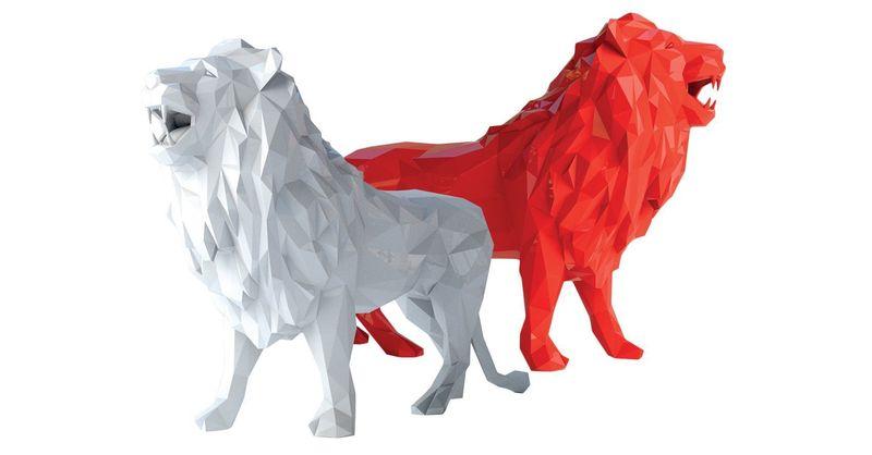 richard orlinski lion blanc lion rouge 1416996 place de march artprice. Black Bedroom Furniture Sets. Home Design Ideas