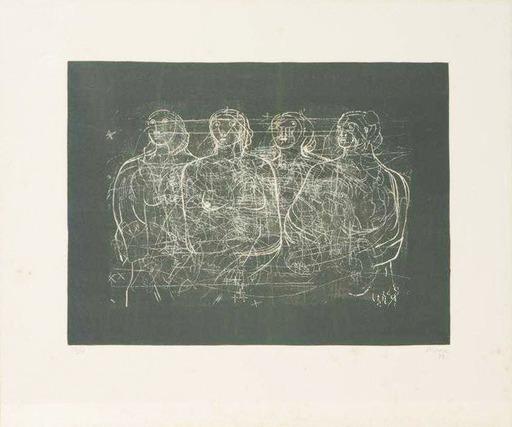 Henry MOORE - Grabado - Four Grey Ladies