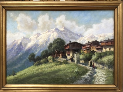 Ercole GARAVAGLIA - Pintura - Antagnod, il Monte Zerbion -  dopo la Messa
