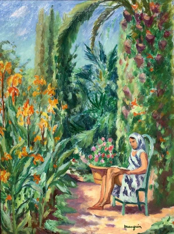 亨利·夏尔·芒更 - 绘画 - Jeune Fille Dans Un Jardin