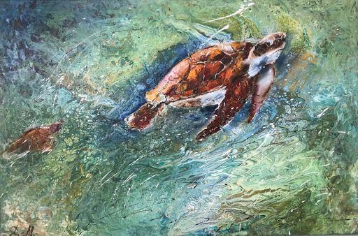 Diana MALIVANI - Pintura - The Sea Turtles