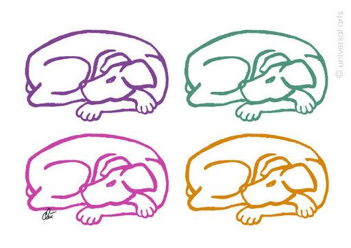 Jacqueline DITT - Print-Multiple - Varicoloured Dogs