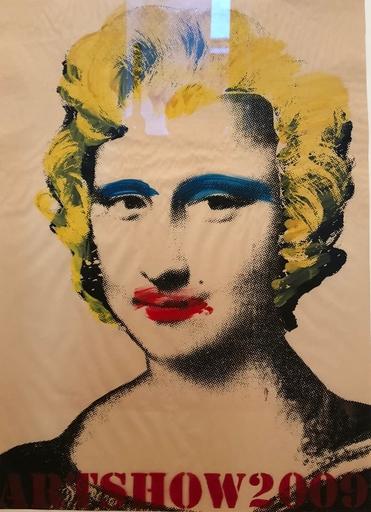 MR BRAINWASH - Disegno Acquarello - Mona Lisa (Rote Lippen, Gelbe Haare)