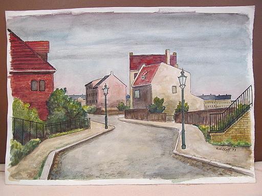 Walter KOHLHOFF - Disegno Acquarello - Berliner Straße mit 2 Laternen